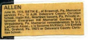 Beth's Obituary.