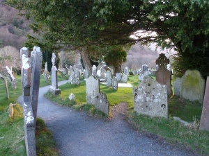 Graves in the twilight at Glendalough